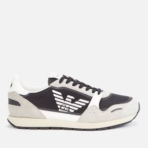 Emporio Armani Men's Suede/Mesh Running Style Trainers - Plaster/Off White