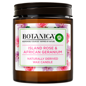 Botanica by Air Wick Island Rose and African Geranium Candle 205g