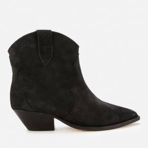 Isabel Marant Women's Dewina Suede Western Boots - Faded Black