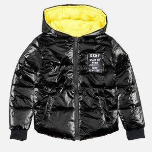 DKNY Girls' Reversible Puffer Jacket - Yellow