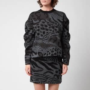 KENZO Women's 'Cheetah Leopard' Jumper - Mist Grey