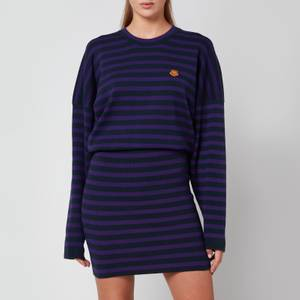 KENZO Women's Striped Short Dress - Blue Black