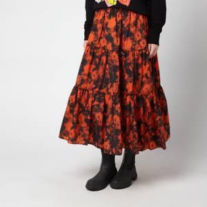 KENZO Women's Printed Elasticated Midi Skirt - Medium Orange