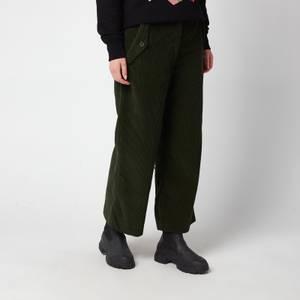 KENZO Women's Flared Corduroy Trousers - Dark Khaki