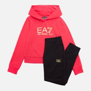 Emporio Armani EA7 Girls' Train Shiny Logo Tracksuit Set - Rose Red/Black