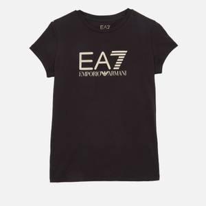 Emporio Armani EA7 Girls' Training Fundamental Sporty Logo T-Shirt - Black