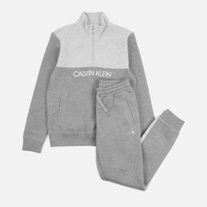 Calvin Klein Boys' Colour Block Zip-Up Sweatpants Set - Mid Grey Heather