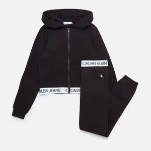 Calvin Klein Jeans Girls' Shadow Logo Tape Zip Through Set - Ck Black