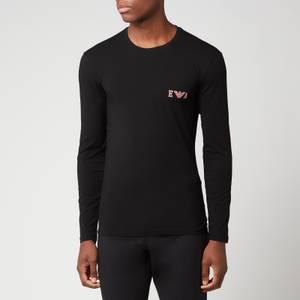 Emporio Armani Loungewear Men's Bold Monogram Longsleeve T-Shirt - Black