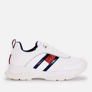 Tommy Hilfiger Girls' Low Cut Lace-Up Sneaker White White