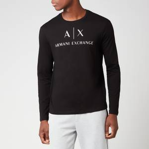 Armani Exchange Men's AX Logo Long Sleeve T-Shirt - Black