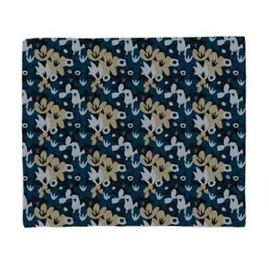 Abstract Navy Flowers Fleece Blanket