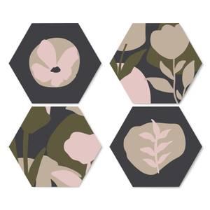 Abstract Navy Flowers Hexagonal Coaster Set