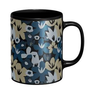 Abstract Navy Flowers Mug - Black