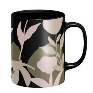 Abstract Natural Flower Mug - Black