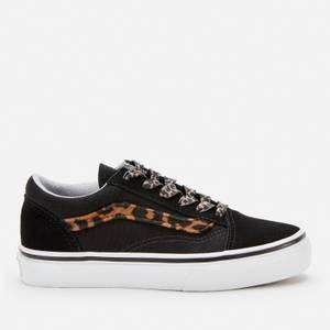 Vans Kids' Old Skool Leopard Trainers - Black/True White