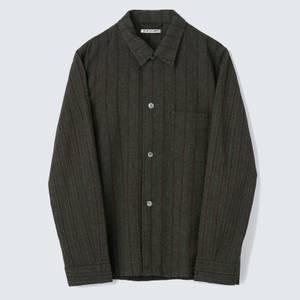 Our Legacy Men's Box Shirt - Olive Brown Melange Stripe