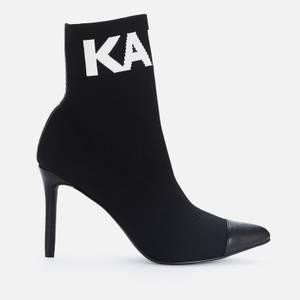 KARL LAGERFELD Women's Pandora Knitted Heeled Shoe Boots - Black