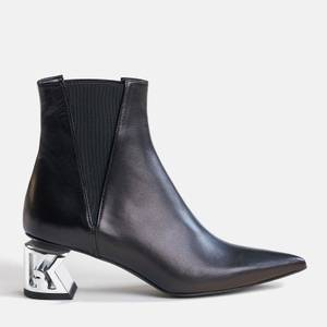 KARL LAGERFELD Women's K-Blok Leather Heeled Chelsea Boots - Black