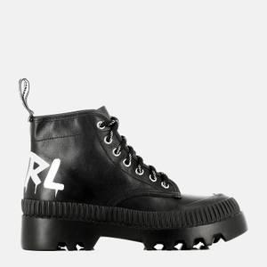 KARL LAGERFELD Women's Trekka II Leather Hiking Style Boots - Black