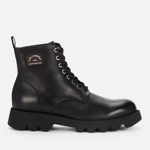 KARL LAGERFELD Men's Terra Firma Leather Lace Up Boots - Black