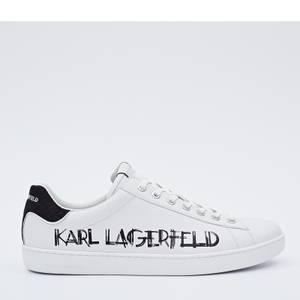 Karl Lagerfeld Men's Kourt II Art Deco Logo Leather Trainers - White/Black