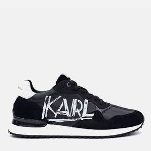 KARL LAGERFELD Men's Velocitor II Art Deco Leather Running Style Trainers - Black/White