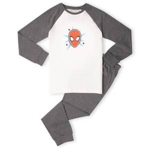 Marvel Spider-Man Face Kids' Pyjamas - White/Grey