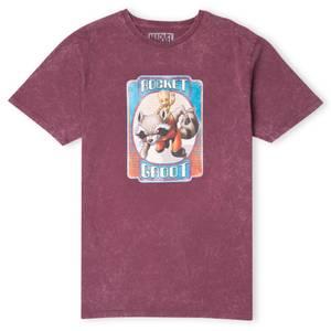 Marvel Rocket & Groot Men's T-Shirt - Burgundy Acid Wash