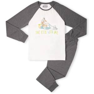 Star Wars The Mandalorian The Kids' With Me Men's Pyjama Set - White/Grey