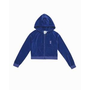 Les Girls Les Boys Women's Velour Zip Front Shrunken Hoody - Blue