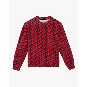 Les Girls Les Boys Women's Fuzzy Print Crew Neck Sweatshirt - Red