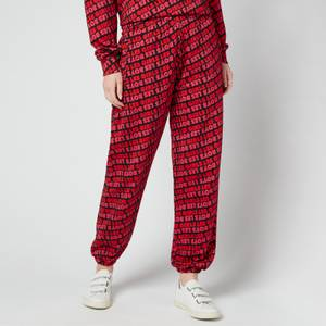 Les Girls Les Boys Women's Fuzzy Print Loose Joggers - Red