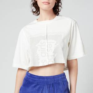 Les Girls Les Boys Women's Single Jersey Deconstructed Cropped T-Shirt - White