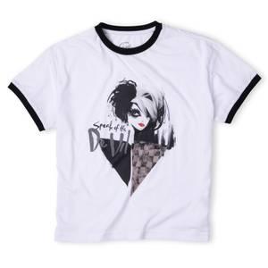T-Shirt Cropped Ringer Femme - Noir/Blanc