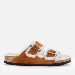 Birkenstock Women's Arizona Slim Fit Shearling Double Strap Sandals - Mink