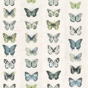 Organic Textures Jewel Butterflies Green Wallpaper