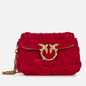 Pinko Women's Mini Puff Weave Velvet Shoulder Bag - Red