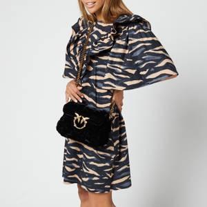 Pinko Women's Mini Puff Weave Velvet Shoulder Bag - Black