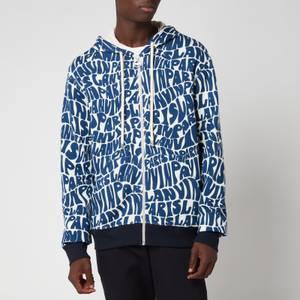 Lanvin Men's Allover Printed Zipped Hoodie - Blue/Ecru