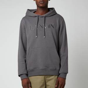Lanvin Men's Paris Embroidered Hoodie - Elephant Grey