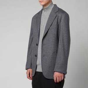 Lanvin Men's Single Breasted Deconstructed Jacket - Dark Grey