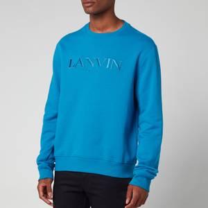 Lanvin Men's Paris Embroidered Sweatshirt - Pristine Blue