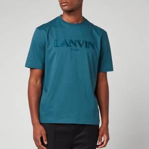 Lanvin Men's Paris Embroidered Regular T-Shirt - Slate