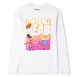 Nickelodeon Hey Arnold Football Head Men's Long Sleeve T-Shirt - White