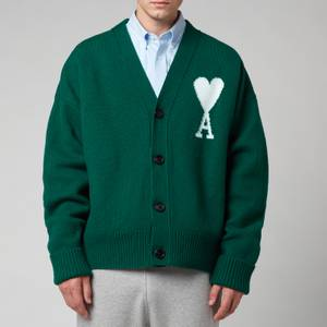 AMI Men's De Coeur Oversized Cardigan - Green