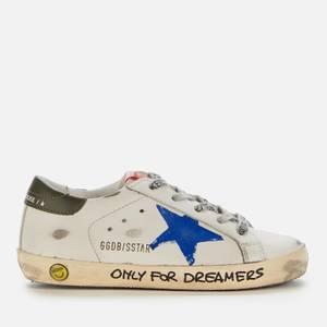 Golden Goose Deluxe Brand Kids' Leather Upper And Heel Print Star Signature Foxing Trainers - Milk/Blue/Dark Blue