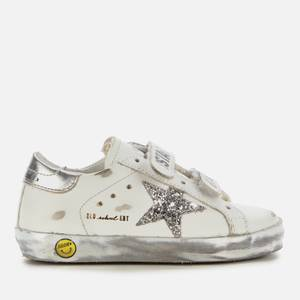 Golden Goose Deluxe Brand Toddlers' Leather Upper and Stripes Glitter Star Laminated Heel Sparkle Foxing Trainers - White/Silver