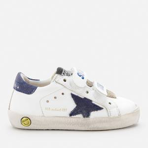 Golden Goose Deluxe Brand Toddlers' Leather Upper Suede Star And Heel Trainers - White/Blue Depths