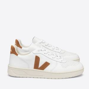 Veja Women's V-10 Leather Trainers - Extra White/Camel